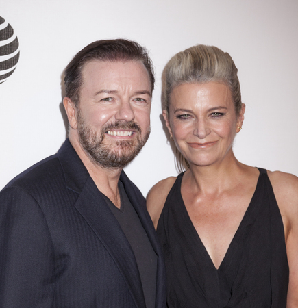 jane: New York, NY, USA - April 22, 2016: Author Jane Fallon and  actor Ricky Gervais attends the Special Correspondents premiere during the 2016 Tribeca Film Festival at the John Zuccotti Theater at BMCC Tribeca Performing Arts Center, NYC Editorial