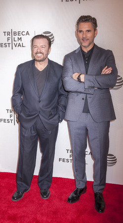 film festival: New York, NY, USA - April 22, 2016: Actors Ricky Gervais (L) and Eric Bana attend the Special Correspondents premiere during the 2016 Tribeca Film Festival at the John Zuccotti Theater at BMCC Tribeca Performing Arts Center, NYC
