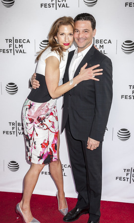 alan: New York, NY, USA - April 19, 2016: Producer, actress Alysia Reiner and actor David Alan Basche attend Tribeca Talks After the Movie: Equity during  the 2016 Tribeca Film Festival at SVA Theatre, Manhattan Editorial