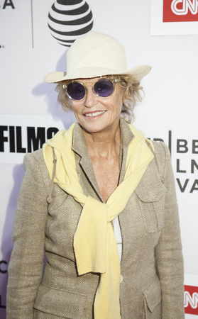 film festival: New York, NY, USA - April 16, 2016: Lauren Hutton attends the premiere of Jeremiah Tower: The Last Magnificent during the 2016 Tribeca Film Festival at the John Zuccotti Theater at BMCC Tribeca Performing Arts Center Editorial