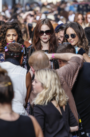 rocha: New York, NY, USA - September 10, 2016: Model Coco Rocha attends Rebecca Minkoff FallWinter 2016 runway show during New York Fashion Week SS 2017 at The Greene Street, Manhattan