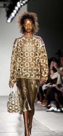 New York, NY, USA - September 11, 2016: Model walks runway for the Custo Barcelona womens & mens SpringSummer 2017 runway show during New York Fashion Week SS 2017 at Pier 59 Studios at Chelsea Piers, Manhattan