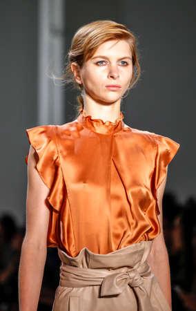 webb: New York, NY, USA - September 8, 2016: A model walks runway for the Marissa Webb SpringSummer 2017 runway show during New York Fashion Week SS 2017 at The Gallery at Skylight Clarcson Sq
