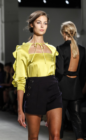 New York, NY, USA - September 8, 2016: A model walks runway for the Marissa Webb SpringSummer 2017 runway show during New York Fashion Week SS 2017 at The Gallery at Skylight Clarcson Sq