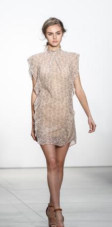 New York, NY, USA - September 8, 2016: A model walks runway for the Marissa Webb SpringSummer 2017 runway show during New York Fashion Week SS 2017 at The Gallery at Skylight Clarcson Sq