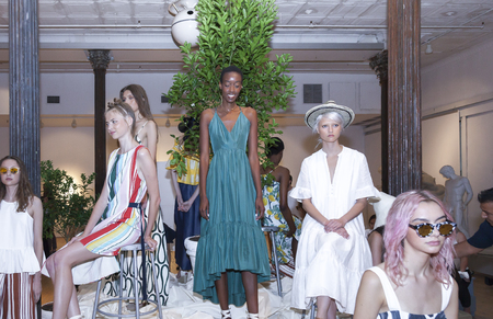whit: New York, NY, USA - September 7, 2016: Models pose for the WHIT Spring?Summer 2017 collection presentation during New York Fashion Week SS 2017 at The New York Academy of Art
