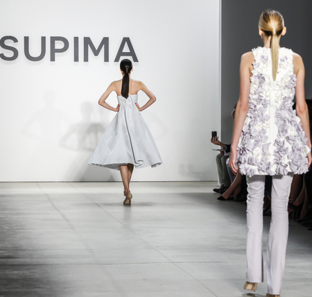 ninth: New York, NY, USA - September 8, 2016: A model walks runway for the Ninth Annual Supima Design competition during New York Fashion Week SS 2017 at The Gallery at Skylight Clarkson Sq. Designer Kara Michelle Kroeger Editorial