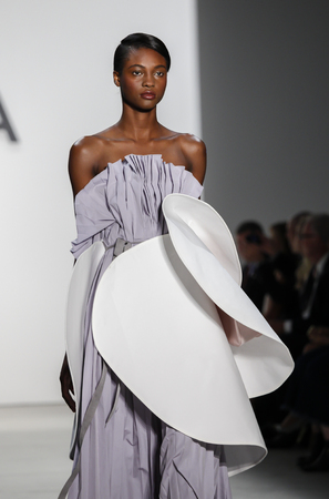 ninth: New York, NY, USA - September 8, 2016: A model walks runway for the Ninth Annual Supima Design competition during New York Fashion Week SS 2017 at The Gallery at Skylight Clarkson Sq. Designer Jacqueline Zeyi Chen