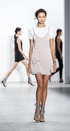 New York, NY, USA - September 8, 2016: A model walks runway rehearsal for the Marissa Webb SpringSummer 2017 runway show during New York Fashion Week SS 2017 at The Gallery at Skylight Clarcson Sq