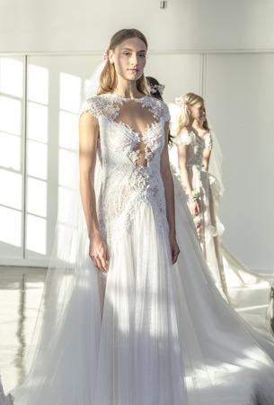 chapman: New York, NY, USA - October 5, 2016: Models show out a dress by Georgina Chapman and Keren Craig for Marchesa FallWinter 2017 Bridal Presentation during New York International Bridal Week at Canoe Studio, Manhattan