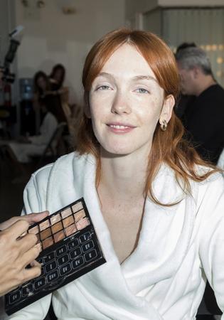 craig: New York, NY, USA - October 5, 2016: A model prepares backstage for Marchesa FallWinter 2017 Bridal Presentation at Canoe Studio, Manhattan Editorial
