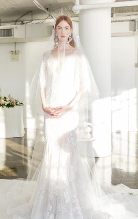 craig: New York, NY, USA - October 5, 2016: A model shows out a dress by Georgina Chapman and Keren Craig for Marchesa FallWinter 2017 Bridal Presentation during New York International Bridal Week at Canoe Studio, Manhattan