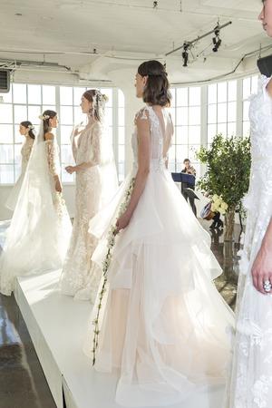craig: New York, NY, USA - October 5, 2016: Models show out a dress by Georgina Chapman and Keren Craig for Marchesa FallWinter 2017 Bridal Presentation during New York International Bridal Week at Canoe Studio, Manhattan