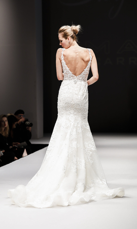 New York, NY, USA - October 8, 2016: A model walks runway for Eve of Milady  Amalia Carrara Spring  2017 Bridal Collection during New York International Bridal Week at the Fashion Theater, Pier 94, Manhattan