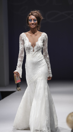 New York, NY, USA - October 8, 2016: A model walks runway for Olvi's by Olga Yermoloff Spring 2017 Collection 'Alchemy' during New York International Bridal Week at the Fashion Theater, Pier 94, Manhattan