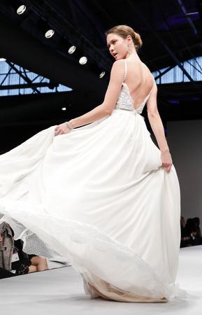 couture: New York, NY, USA - October 9, 2016: A model walks runway for Bridal Couture from Israel Spring 2017 Bridal Collection during New York International Bridal Week at the Fashion Theater, Pier 94, Manhattan. Design by Solo Merav