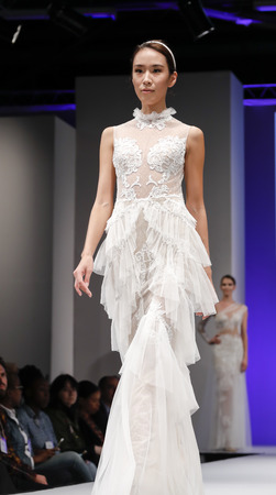 New York, NY, USA - October 9, 2016: A model walks runway for Bridal Couture from Israel Spring  2017 Bridal Collection during New York International Bridal Week at the Fashion Theater, Pier 94, Manhattan. Design by Shlomit Azrad