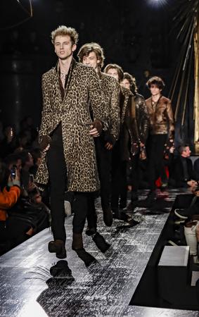 New York, NY, USA - February 2, 2017: Models walk runway for John Varvatos FW17 runway show during NY Fashion Week: Mens at Paramaunt Hotel, Manhattan