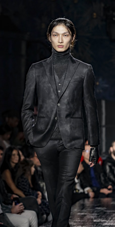 New York, NY, USA - February 2, 2017: A model walks runway for John Varvatos FW17 runway show during NY Fashion Week: Mens at Paramaunt Hotel, Manhattan