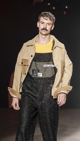 New York, NY, USA - February 1, 2017: A model walks runway rehearsal for Rochambeau FW17 runway show during NY Fashion Week: Mens at Skylight Clarkson Sq., North, Manhattan Editorial