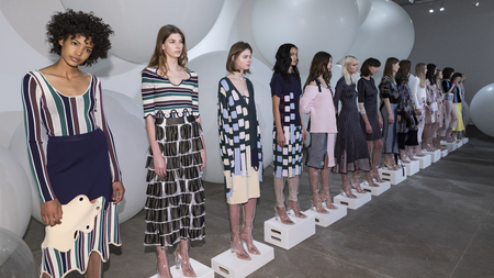 New York, NY, USA - February 8, 2017: Models show up dress for PH5 FW17 collection  Presentation during New York Fashion Week at Bortolami Gallery, Manhattan