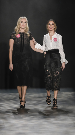 georgina: New York, NY, USA - February 15, 2017: Georgina Chapman and Keren Craig walk runway for the Marchesa FW17 collection runway show during New York Fashion Week at Skylight Clarkson Sq., Manhattan