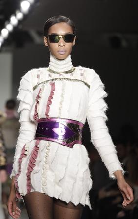 New York, NY, USA - February 12, 2017: Models walk runway for the Custo Barcelona FallWinter 2017 runway show during New York Fashion Week at Pier 59 Studios at Chelsea Piers, Manhattan Editorial
