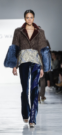 New York, NY, USA - February 11, 2017: A model walks runway for Son Jung Wan FallWinter 2017 collection runway show during New York Fashion Week at Skylight Clarkson Sq., Manhattan