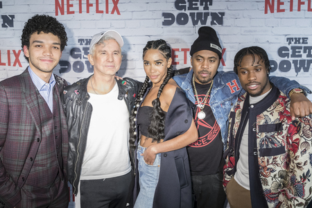 New York, New York, USA, April 5, 2017: (L-R) Justice Smith, Baz Luhrmann, Herizen Guardiola, Nas, Shameik Moore attend New York Kickoff Party for the Netflix The Get Down season One Part Two at Irvin