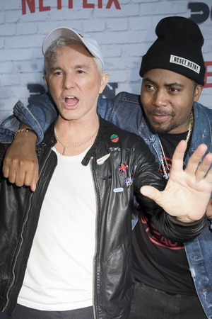 New York, New York, USA, April 5, 2017: Executive Producers Baz Luhrmann (L) and Nas attend New York Kickoff Party for the Netflix The Get Down season One Part Two at Irving Plaza, Manhattan