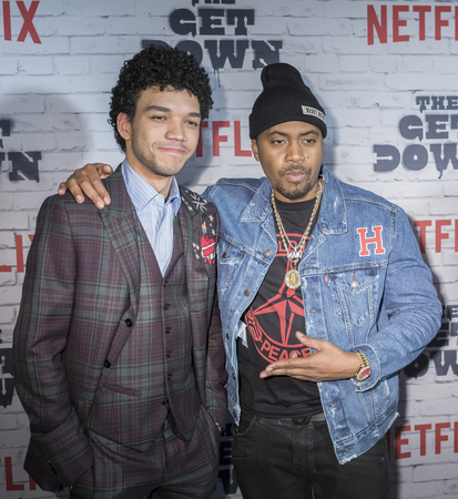 New York, New York, USA, April 5, 2017: Justice Smith and Nas attend New York Kickoff Party for the Netflix The Get Down season One Part Two at Irving Plaza, Manhattan