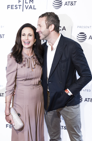 NEW YORK, NY , USA - APRIL 22: Actress Andie MacDowell(L) and Actor Chris ODowd attend US Narrative Competition:�Love After Love� Premiere during the 2017 Tribeca Film Festival at SVA Theater, Manhattan Editorial
