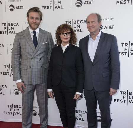 weber: NEW YORK, NY , USA - APRIL 23: (L-R) Adam Haggiag, Susan Sarandon and Doren Weber  attend the 2017 Tribeca Film Festival - Bombshell: The Hedy Lamarr Story screening at SVA Theater, Manhattan