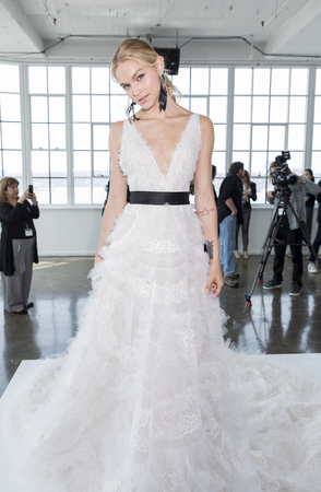 georgina: New York, NY, USA - April 20: A model shows out a dress by Georgina Chapman and Keren Craig for Marchesa SpringSummer 2018 Bridal Presentation during New York International Bridal Week at Canoe Studio, Manhattan Editorial