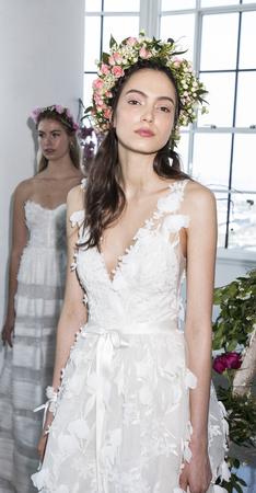 New York, NY, USA - April 20: A model shows out a dress by Georgina Chapman and Keren Craig for Marchesa Notte SpringSummer 2018 Bridal Presentation during New York International Bridal Week at Canoe