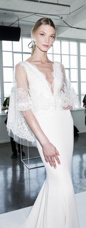 New York, NY, USA - April 20: A model shows out a dress by Georgina Chapman and Keren Craig for Marchesa SpringSummer 2018 Bridal Presentation during New York International Bridal Week at Canoe Studio, Manhattan Editorial
