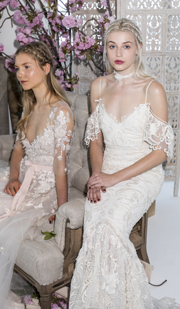 New York, NY, USA - April 20: Models show out a dress by Georgina Chapman and Keren Craig for Marchesa Notte SpringSummer 2018 Bridal Presentation during New York International Bridal Week at Canoe S