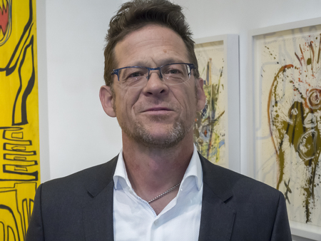 New York, NY, USA - May 3, 2017: Former Metallica bass guitarist Jason Newsted debuts his first art exhibition RAWK during VIP preview at the contemporary Art Fairs: Art New York, Context New York 2