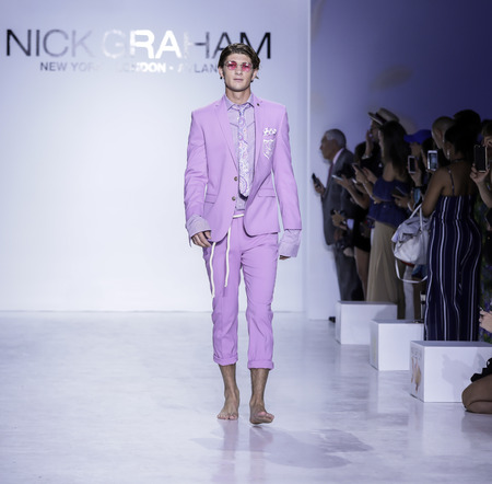 New York, NY, USA, July 11, 2017: A model walks runway for Nick Graham SpringSummer 2018 runway show during New York Fashion Week at Skylight Clarkson Square, NYC