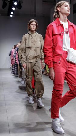 New York, NY, USA - July 11, 2017: Models walk the runway for Feng Chen Wang SpringSummer 2018 Runway Show at Skylight Clarckson Square, NYC Editorial