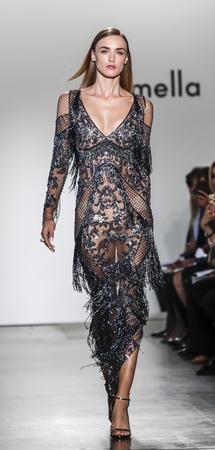New York, NY, USA - September 6, 2017: A model walks runway for the Pamella Roland SpringSummer 2017 runway show during New York Fashion Week at Pier 59 Studios at Chelsea Piers, Manhattan