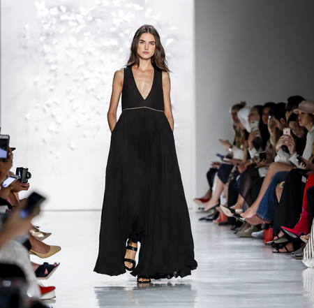New York, NY, USA - September 7, 2017: A model walks runway for the Noon by Noor SpringSummer 2018 runway show during New York Fashion Week at Skylight Clarkson Sq., Manhattan