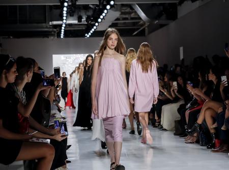 New York, NY, USA - September 7, 2017: Models walk runway for the Noon by Noor SpringSummer 2018 runway show during New York Fashion Week at Skylight Clarcson Sq., Manhattan