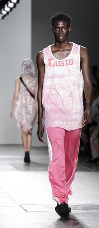 New York, NY, USA - September 9, 2017: A model walks runway for the Custo Barcelona SpringSummer 2018 runway show during New York Fashion Week at Pier 59 Studios at Chelsea Piers, Manhattan