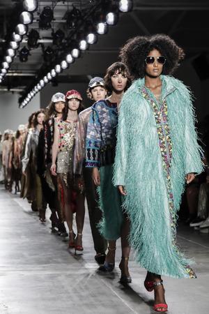 New York, NY, USA - September 9, 2017: Models walk runway for the Custo Barcelona SpringSummer 2018 runway show during New York Fashion Week at Pier 59 Studios at Chelsea Piers, Manhattan Editorial