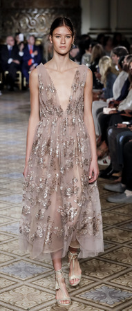 New York, NY, USA - September 11, 2017: A model walks runway for the Dennis Basso SpringSummer 2018 runway show during New York Fashion Week at Plaza Hotel - Grand Ballroom, Manhattan Editorial