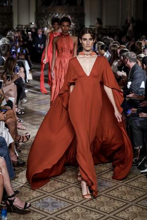 New York, NY, USA - September 11, 2017: Models walk runway for the Dennis Basso SpringSummer 2018 runway show during New York Fashion Week at Plaza Hotel - Grand Ballroom, Manhattan Editorial