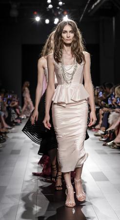craig: New York, NY, USA - September 13, 2017: Models walk runway for the Marchesa SpringSummer 2018 runway show during New York Fashion Week at Skylight Clarkson Sq., Manhattan Editorial