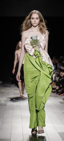 craig: New York, NY, USA - September 13, 2017: A model walks runway for the Marchesa SpringSummer 2018 runway show during New York Fashion Week at Skylight Clarkson Sq., Manhattan