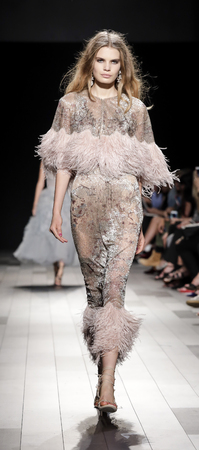 New York, NY, USA - September 13, 2017: A model walks runway for the Marchesa SpringSummer 2018 runway show during New York Fashion Week at Skylight Clarkson Sq., Manhattan